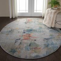 Nourison Global Vintage Multicolor Abstract Round Rug - 6'x round