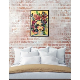Oliver Gal 'Floral Goddess' Abstract Framed Wall Art - YELLOW