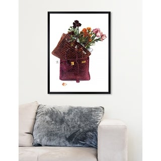 Oliver Gal  'Doll Memories - Flowers' Fashion Framed Wall Art - burgundy
