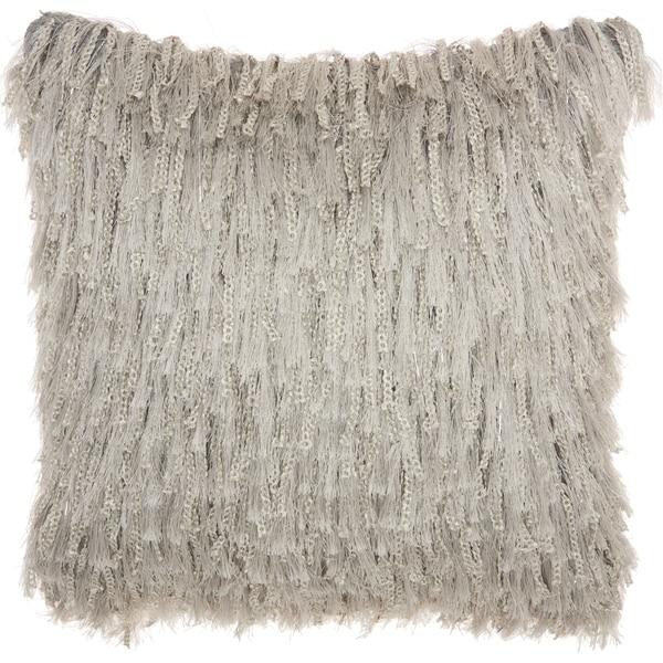 Mina Victory Handmade Light Grey Shag Throw Pillow (20 -Inch x 20 -Inch)