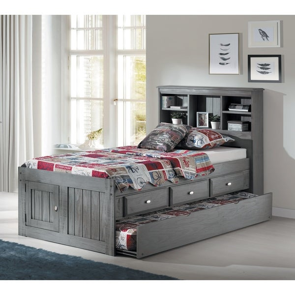 Solid Pine Charcoal Twin Bookcase Twin Trundle 3 drawers