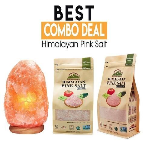Himalayan Glow Coarse and Fine Salt Lamp 2 lbs Salt Bags