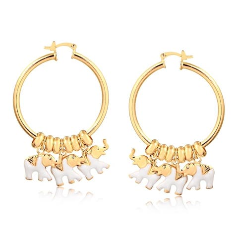 Gold Plated White Enamel Elephant Charm Hoop Earrings