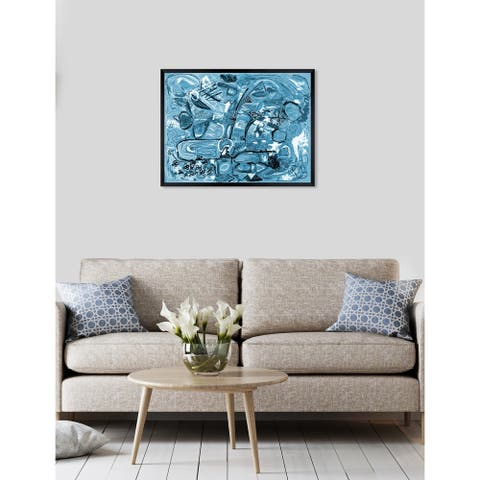 Oliver Gal 'ROSALINA - Lively City Blues' Abstract Framed Wall Art