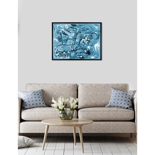 Oliver Gal 'ROSALINA - Lively City Blues' Abstract Framed Wall Art - Blue