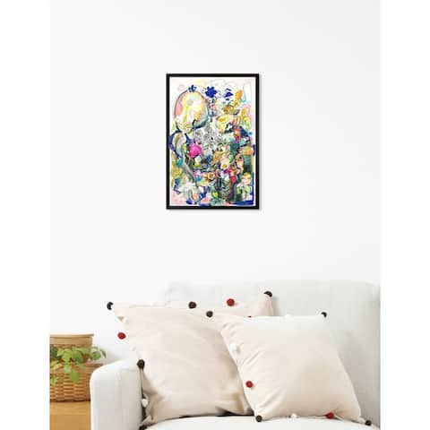 Oliver Gal 'ROSALINA -Dancing In The Clouds' Yellow Abstract Framed Wall Art Print