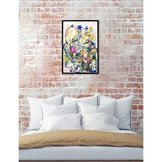 Oliver Gal 'ROSALINA -Dancing In The Clouds' Yellow Abstract Framed Wall Art Print - MultiColor