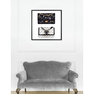 Oliver Gal  'Doll Memories - Iconic Boy Bag SQUARE' Fashion Framed Wall Art - Black