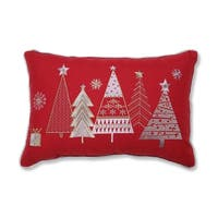 Christmas Star Topped Trees Lumbar Pillow  Red