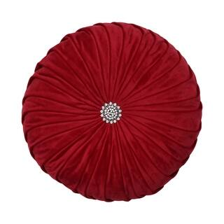 Pillow Perfect Round Pleated Velvet 14-inch Pillow Red