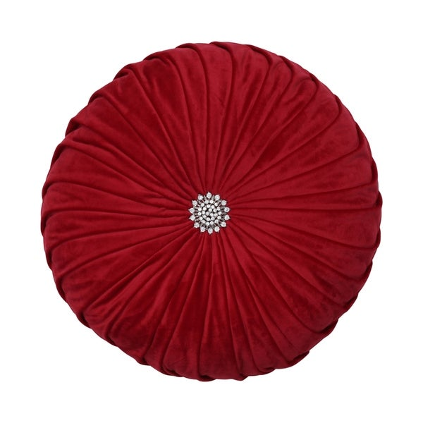 Round Pleated Velvet 14-inch Pillow Red