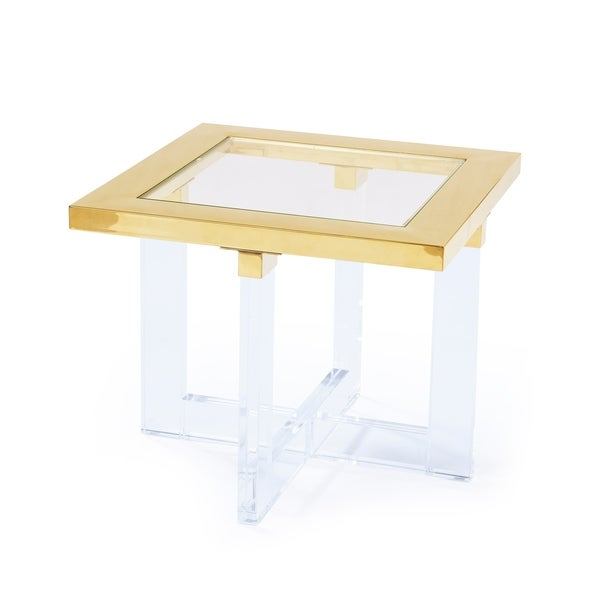 "Pasargad Vicenza Collection Lucite White Side table - 24"" x 24"""