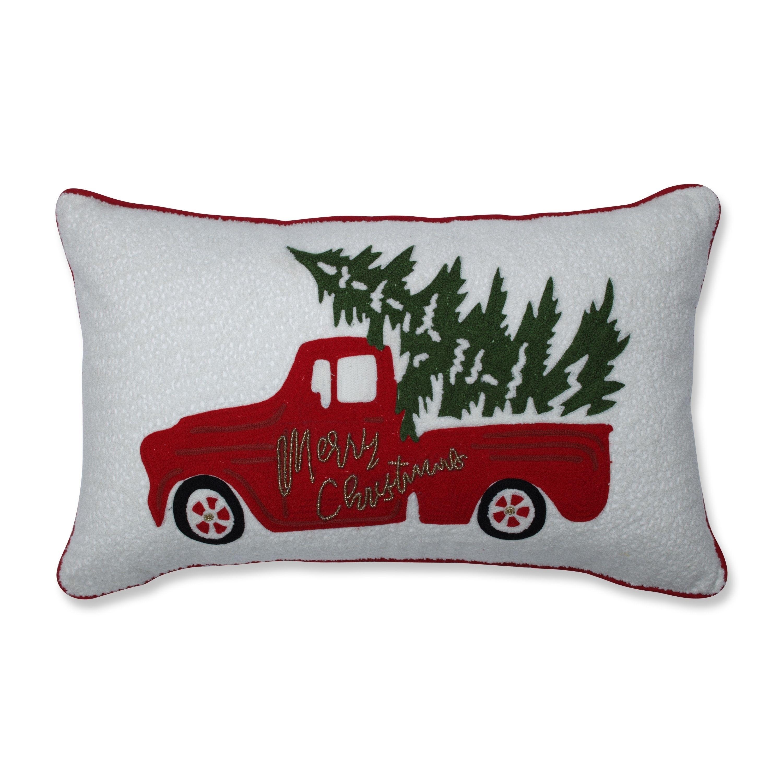 Red Christmas Truck.Pillow Perfect Red Christmas Truck 11 5x18 5 Inch Lumbar Pillow