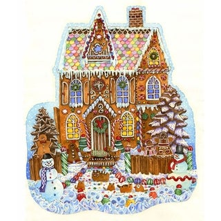 Gingerbread House Shaped Christmas Puzzle