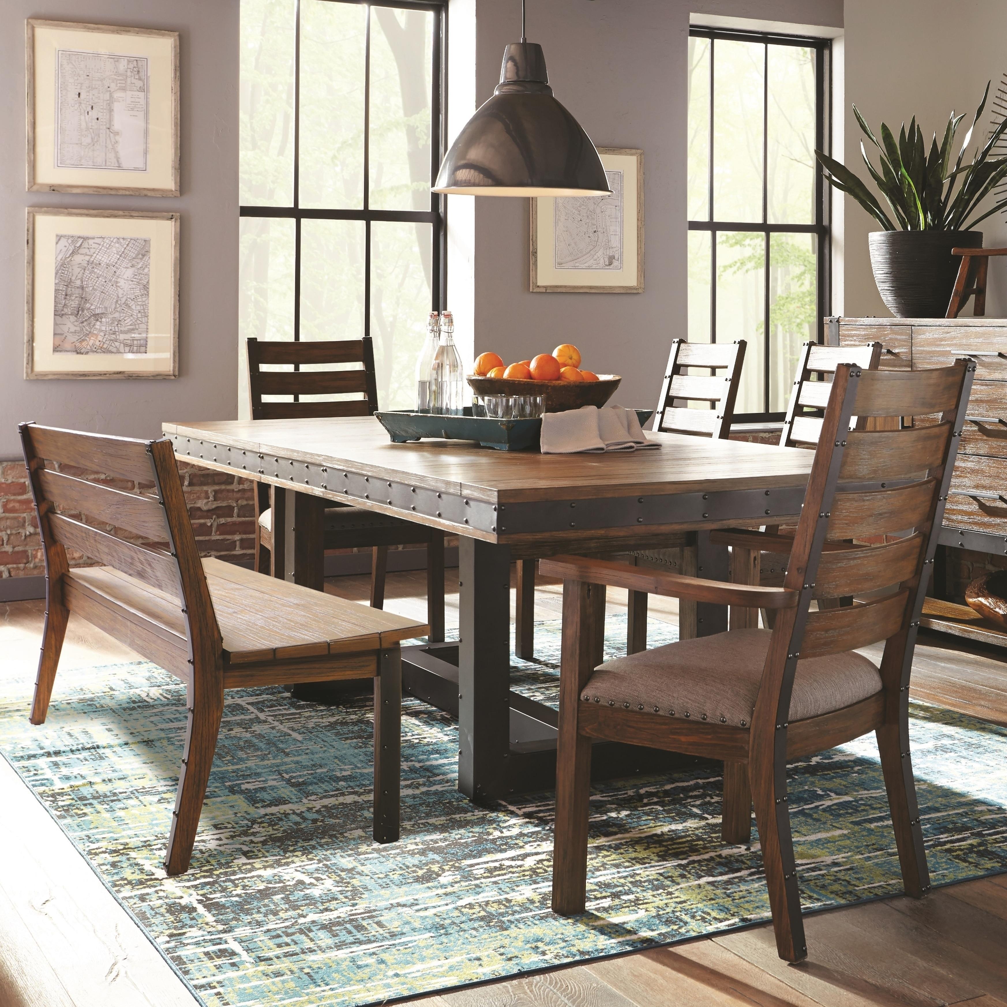 Carbon Loft Kareem Industrial Slat Back Design Wood And Metal Dining Set Overstock 23622622