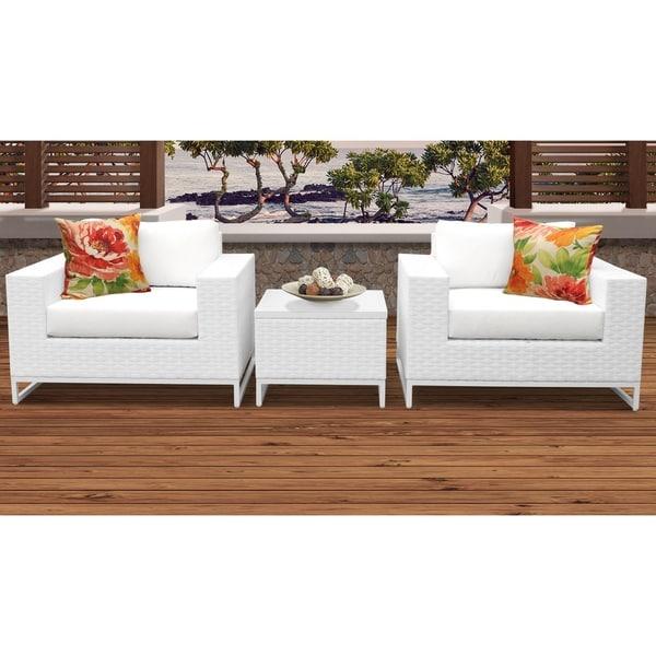 Outdoor Patio Furniture Miami: Shop Miami 3 Piece Outdoor Wicker Patio Furniture Set 03b