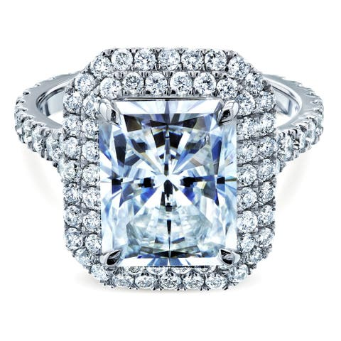 Annello by Kobelli 14k White Gold 5 Carats TGW Large Radiant Cut Moissanite Double Halo Diamond Engagement Ring