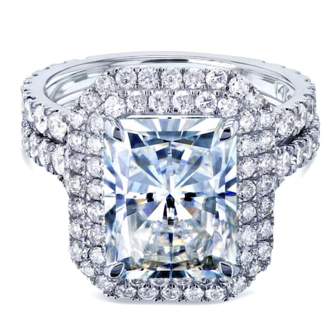 Annello by Kobelli 14k White Gold 5 1/2 Carats TGW Large Radiant Cut Forever One Moissanite Double Halo Diamond Bridal Set