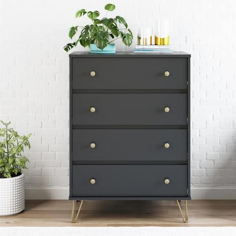 Novogratz Owen Black 4 Drawer Dresser