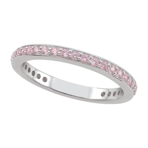 Sterling Silver Pink Cubic Zirconia Stack Ring