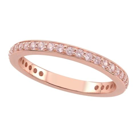 Sterling Silver Rose Gold Plated Pink Cubic Zirconia Stack Ring