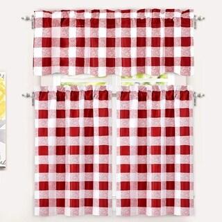 DriftAway Buffalo Checker Plaid 3-piece Kitchen Curtain Valance and Tiers Set