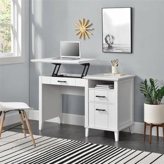 Novogratz Hazelridge White Lift-Top Desk
