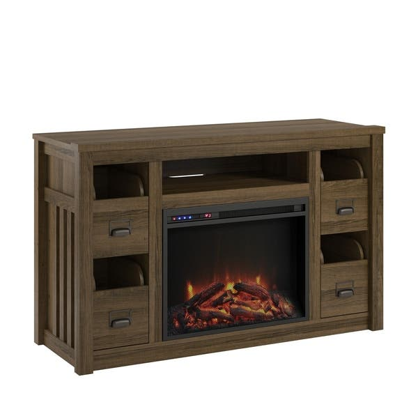 Shop Ameriwood Home Adams Brown Oak Tv Stand With Fireplace