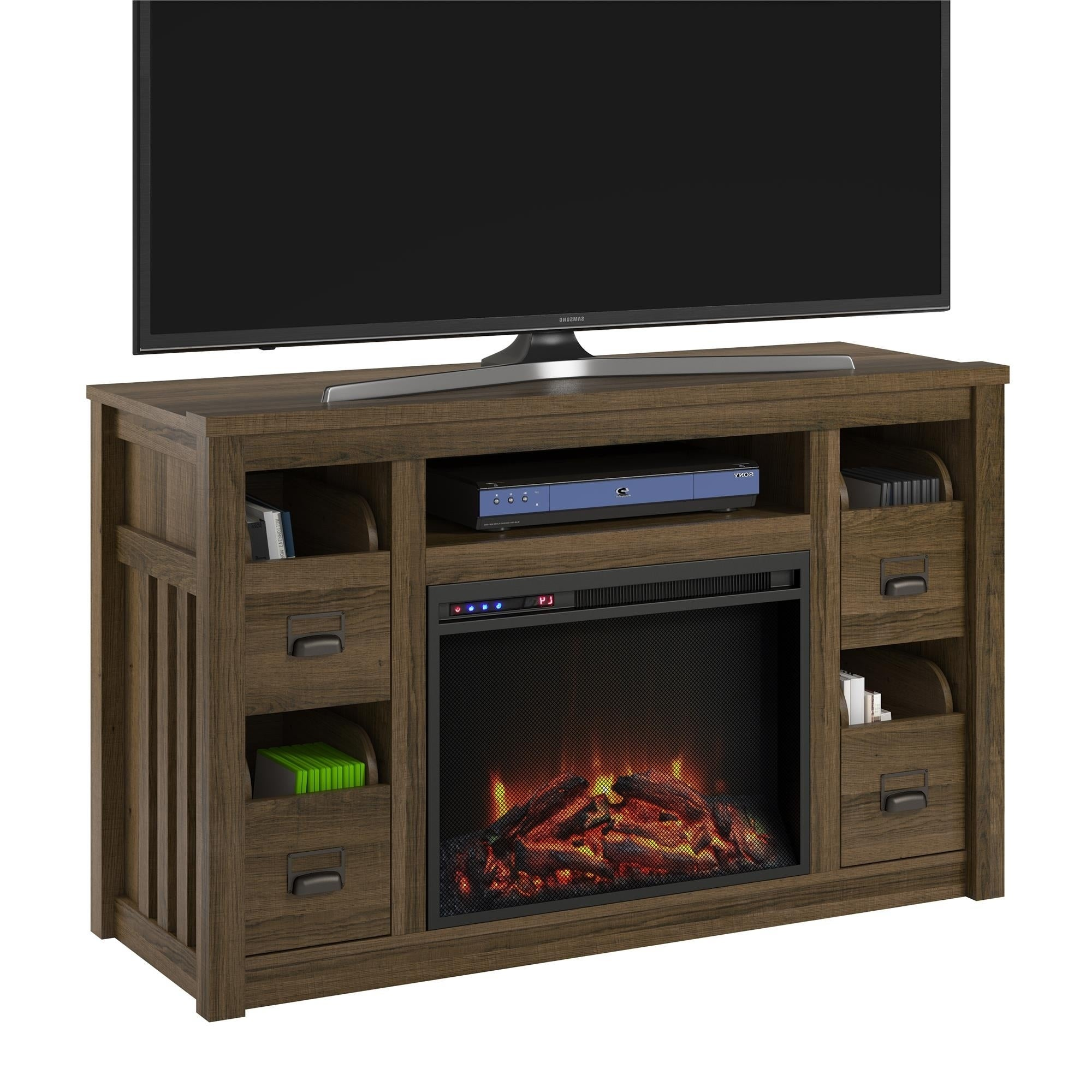 Ameriwood Home Adams Brown Oak Tv Stand With Fireplace For Tvs Up To 55 Inches