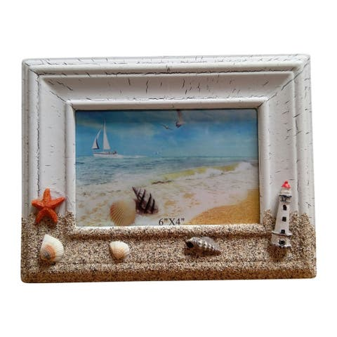"Creative Motion Polyresin Nautical Theme Decorative Photo Frame - 4"" X 6"""