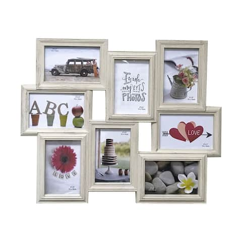 "Creative Motion 8 Decorative Photo Frames with Wood Grain - 6"" X 4"""