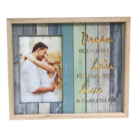 "Creative Motion ""Dream Beautifully, Live Passionately, Live Completely"" Wood Lighted Decorative Photo Frame - 4""X6"""