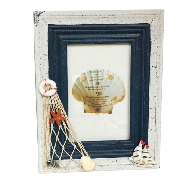 "Creative Motion Nautical Theme Decorative Sea Shell Photo Frame - 4"" X 6"" Picture"