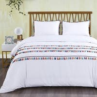 California Design Den Cotton Boho Tassled Duvet Cover Set