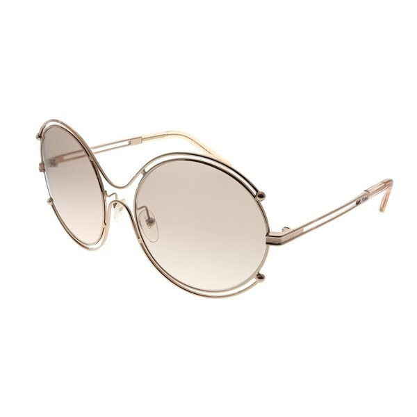 cd33e3a7fa95 Chloe Round CE 122S Isidora 785 Women Rose Gold Peach Frame Grey Gradient  Lens Sunglasses