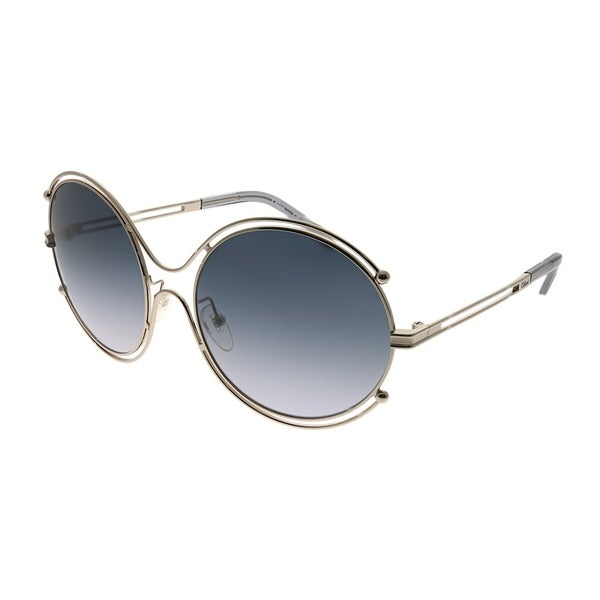 3a3b8824e602 Chloe Round CE 122S Isidora 744 Women Light Gold Frame Grey Gradient Lens  Sunglasses