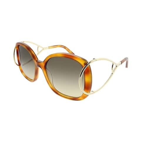 39c74b312157 Chloe Square CE 702S Jackson 725 Women Blonde Havana Frame Brown Gradient  Lens Sunglasses