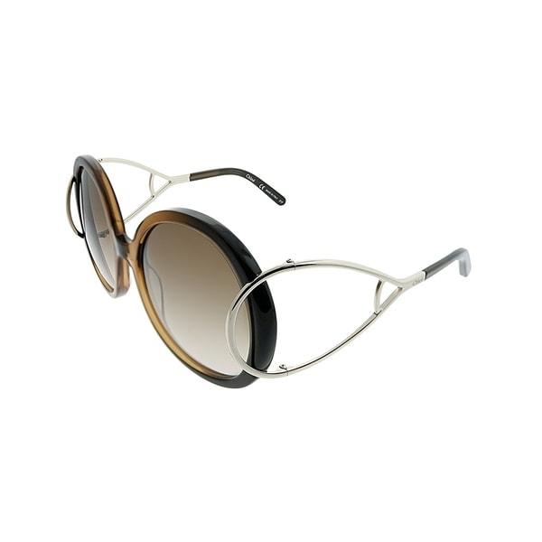 570ddb6fa271 Chloe Round CE 703S Jackson 233 Women Brown Gradient Frame Brown Gradient  Lens Sunglasses