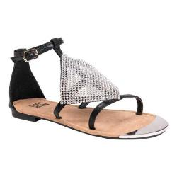 Women's MUK LUKS Linzie Flat Ankle Strap Sandal Black Polyester (5 options available)