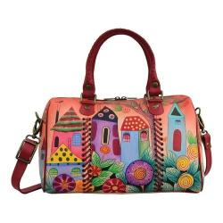 Women's ANNA by Anuschka Hand Painted All Round Zip Satchel 8319 Village Of Dreams