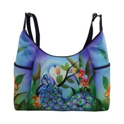 Women's ANNA by Anuschka Hand Painted Large Shoulder Hobo 8082 Midnight Peacock