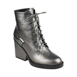 Women's Beston Hogfish-2 Combat Boot Pewter Faux Leather