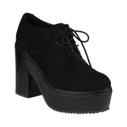 Women's Beston Text-2 Platform Oxford Black Faux Suede