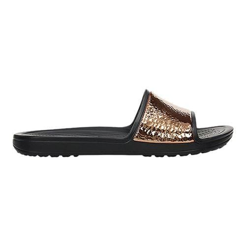 1c9cfe6cf442a4 Shop Women s Crocs Sloane Hammered Metallic Slide Black Rose Gold - Free  Shipping On Orders Over  45 - Overstock - 20084723