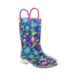 Girls' Western Chief Pop Flower Lighted Rain Boot Navy