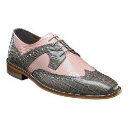 Men's Stacy Adams Gusto Wingtip Oxford 25167 Gray/Misty Rose Leather