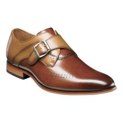 Men's Stacy Adams Saxton Wingtip Monk Strap 25178 Cognac/Tan Smooth Leather