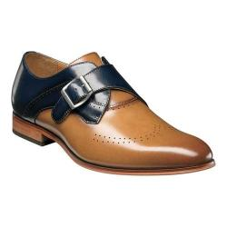 Men's Stacy Adams Saxton Wingtip Monk Strap 25178 Tan/Navy Smooth Leather