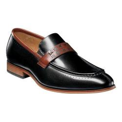 Men's Stacy Adams Sussex Moc Toe Loafer 25179 Black/Cognac Smooth Leather
