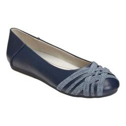 Women's Aerosoles Spin Cycle Ballet Flat Navy Faux Leather/Elastic